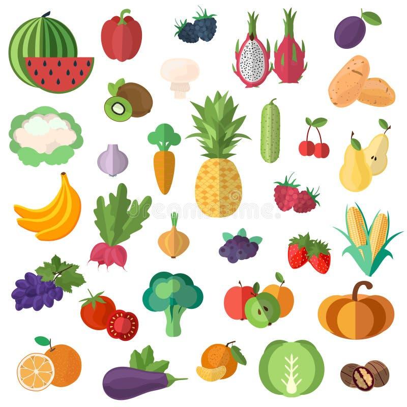 Stor samling av högvärdiga kvalitets- frukter och grönsaker i en plan stil royaltyfri illustrationer
