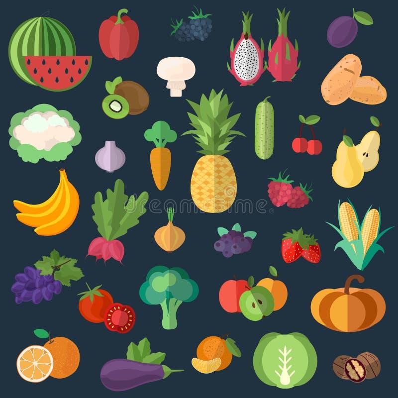 Stor samling av högvärdiga kvalitets- frukter och grönsaker i en plan stil stock illustrationer