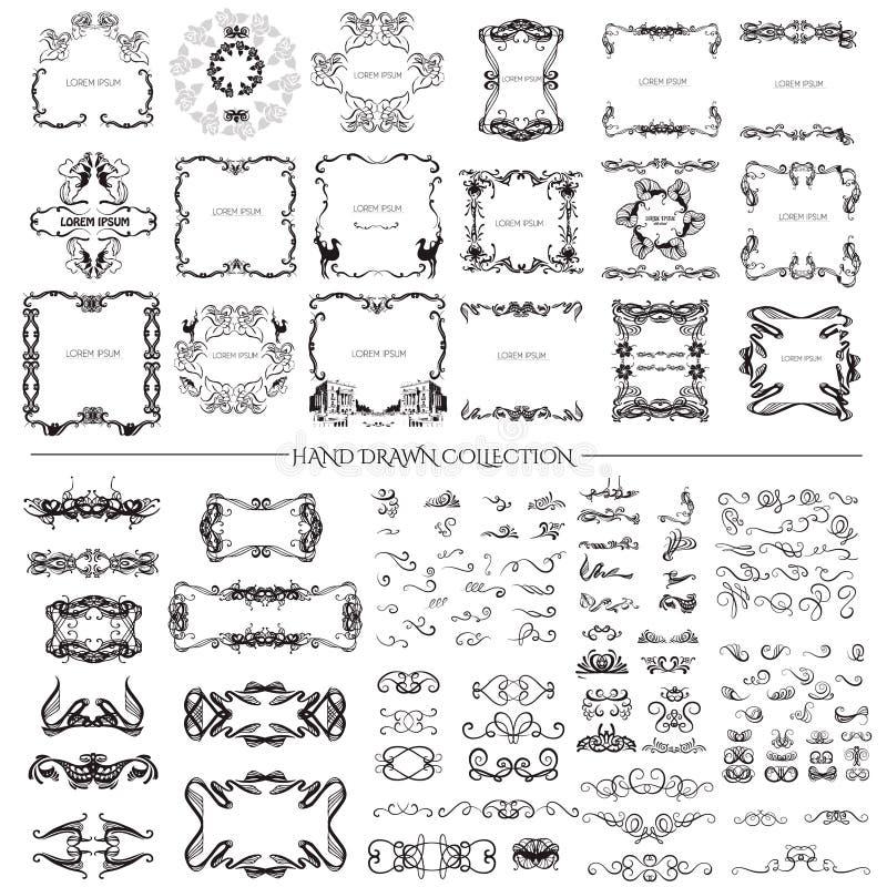 Stor samling av hand drog ramvirvlar och curles vektor illustrationer