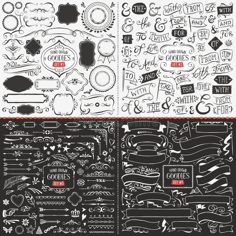 Stor samling av hand drog vektordesignbeståndsdelar royaltyfri illustrationer