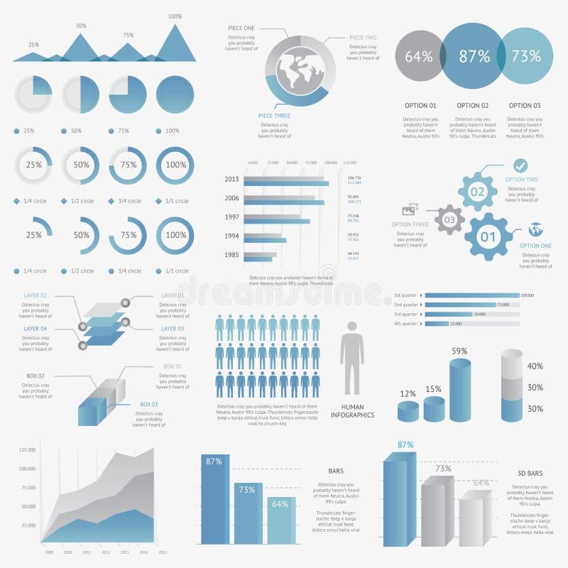 Stor samling av infographic vect för modern affär royaltyfri illustrationer