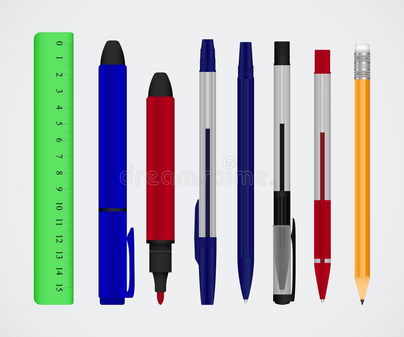 Stor samling av kulöra pennor och blyertspennor Färgbrevpapperuppsättning vektor illustrationer