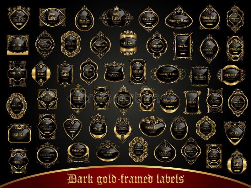 Stor samling av mörker guld-inramade etiketter i tappningstil vektor illustrationer