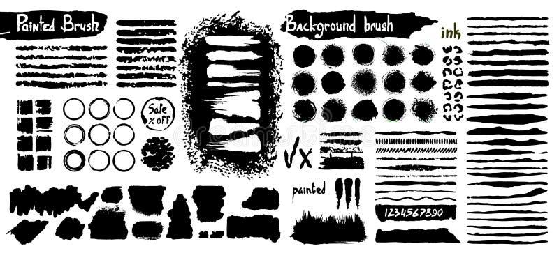 Stor samling av svart målarfärg, färgpulverborsteslaglängder, borstar, linjer som är grungy Smutsiga konstnärliga designbeståndsd vektor illustrationer