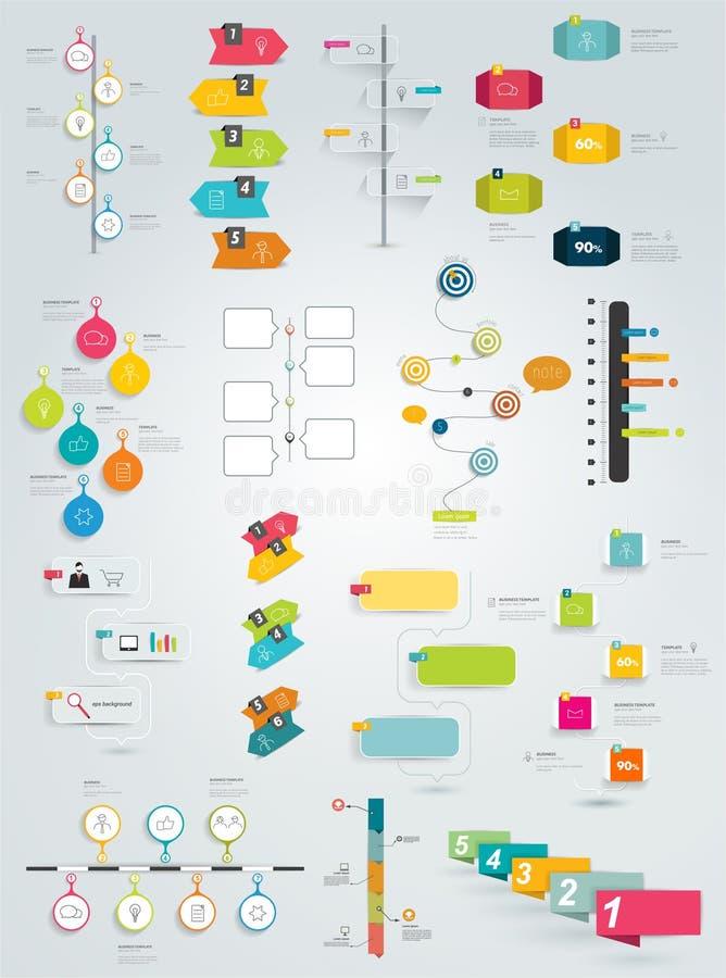 Stor samling av timelinemallen vektor illustrationer