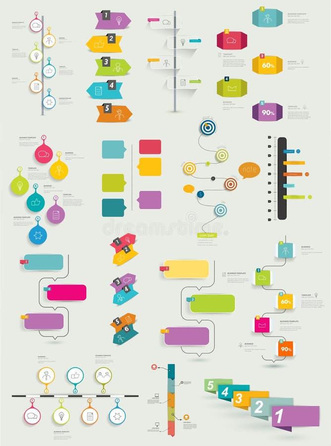 Stor samling av timelinemallen stock illustrationer