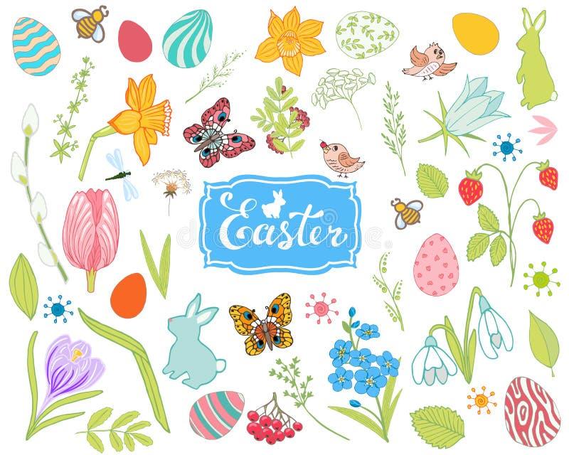 Stor samling av vårblommor, easter ägg, kaniner arkivbilder