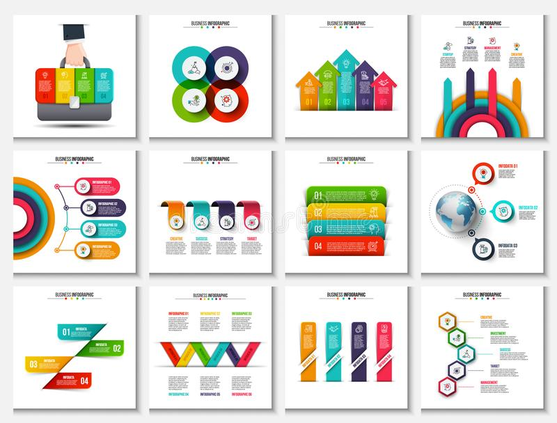 Stor samling av vektorabstrakt begreppbeståndsdelar för infographic vektor illustrationer
