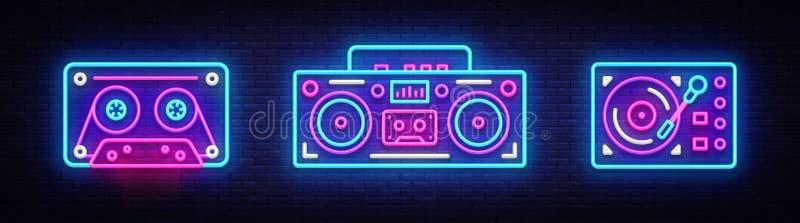 Stor samlingsneonallsång Retro beståndsdelar för design för musikneonsymboler Dra tillbaka till banret för ljus 80-90s, modern tr royaltyfria bilder