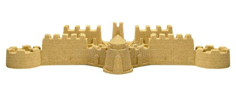 Stor sandslott som isoleras på vit bakgrund royaltyfria foton