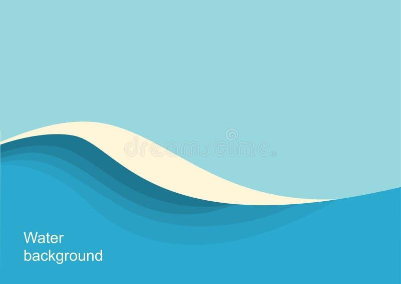 Stor seascape för havvågor Blå bakgrund för vektor med havsvågen och himmel vektor illustrationer