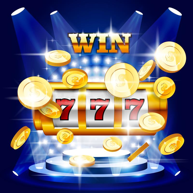 Stor seger eller jackpott - enarmad bandit och mynt, kasino stock illustrationer