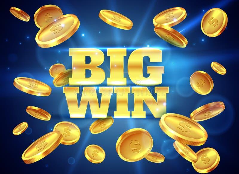 stor seger Prisetikett med guld- flygamynt som segrar leken Bakgrund för vektor för dobbleri för jackpott för kasinokassapengar a stock illustrationer