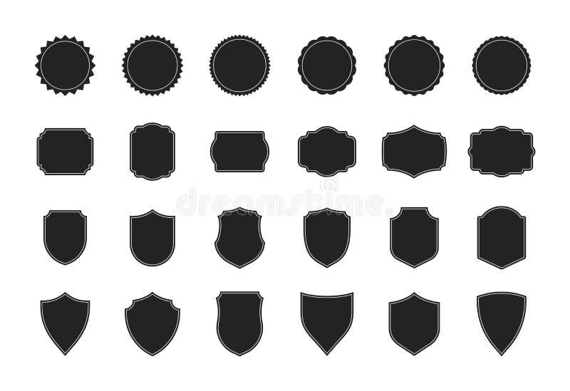 Stor sköldsamling Svart kontursköldform, svart etikett Tappning eller retro skölduppsättning ocks? vektor f?r coreldrawillustrati vektor illustrationer