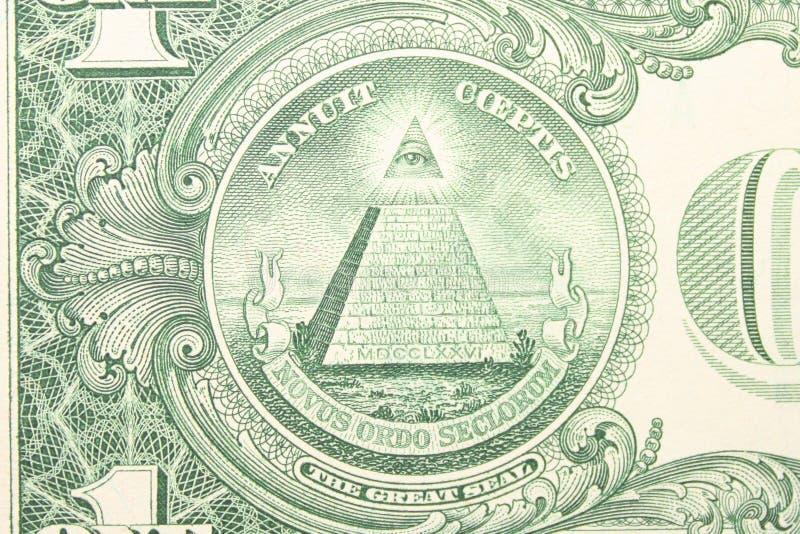 Stor skyddsremsa av Uen S från tillbaka dollarräkning royaltyfria bilder