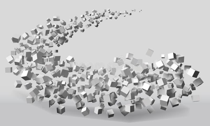 Stor slaglängdrörelse bildade vid slumpmässiga storleksanpassade kuber stock illustrationer