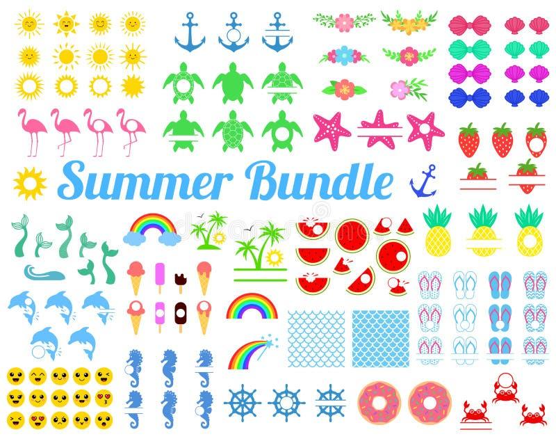 Stor sommarpacke med designbeståndsdelar Sköldpadda sol, seahorse, sjöjungfrusvans, regnbåge, flamingo, vattenmelon, ananas, delf vektor illustrationer