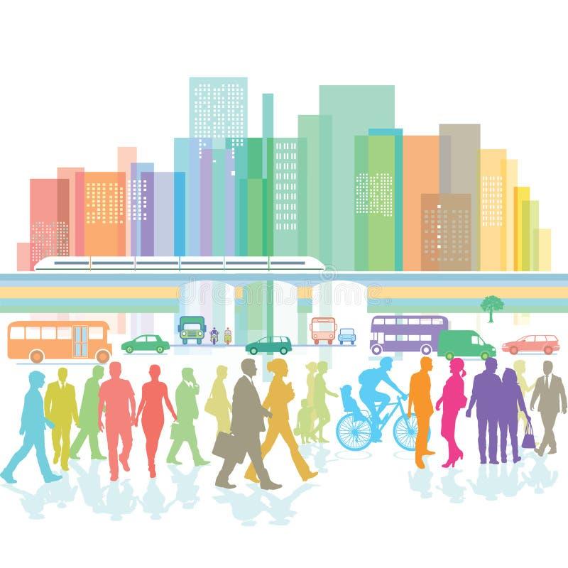 Stor stad med folk- och vägtrafik stock illustrationer