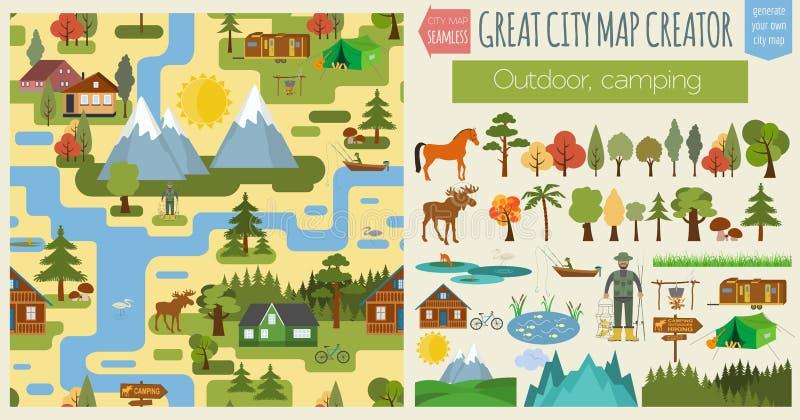 Stor stadsöversiktsskapare Sömlös modellöversikt Campa som är utomhus-, c royaltyfri illustrationer