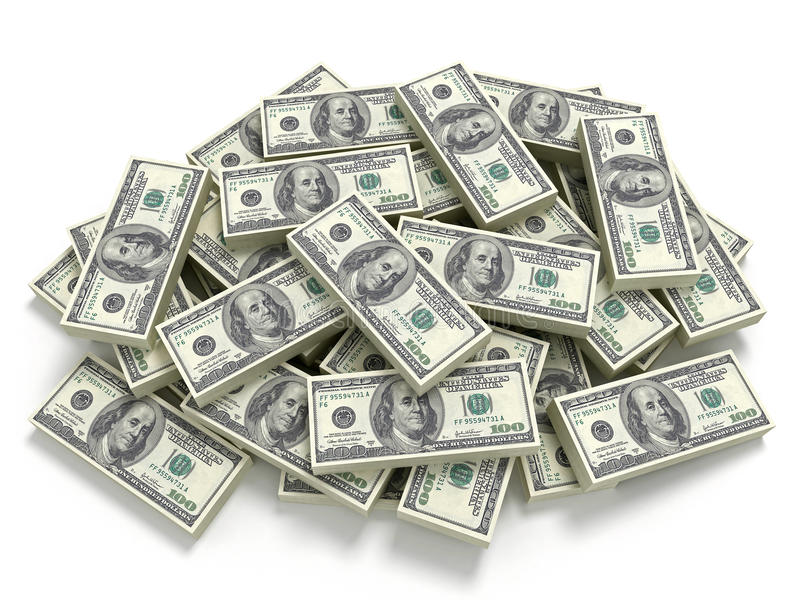 Stor stapel av pengarna vektor illustrationer