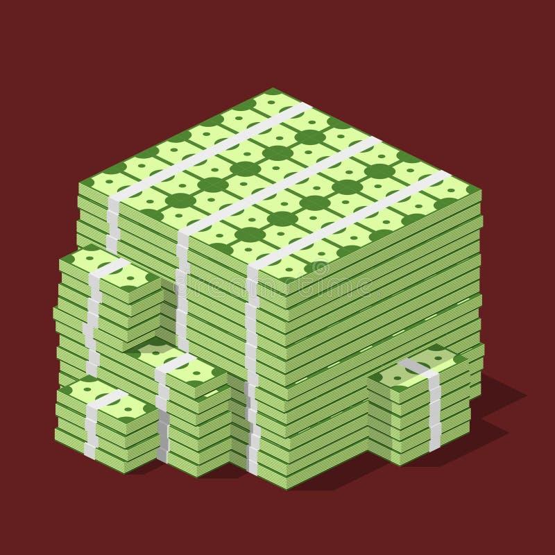 Stor staplad hög av kassa Hundratals dollar i isometrisk plan stil stock illustrationer