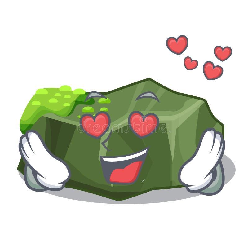 Stor sten för förälskad tecknad film som täckas med grön mossa stock illustrationer
