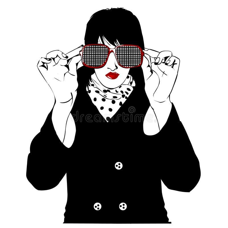 stor stilfull solglasögonkvinna royaltyfri illustrationer