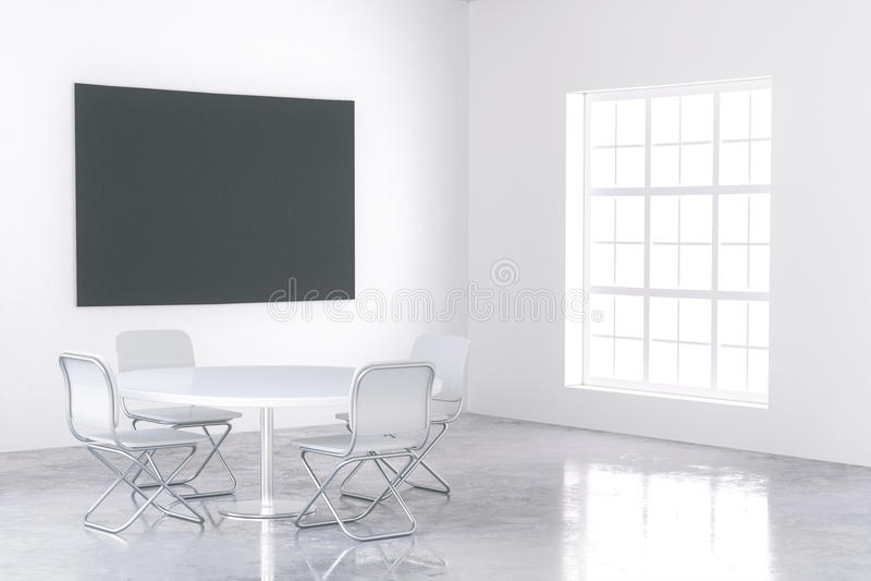 Stor svart affisch i den vita inre stock illustrationer