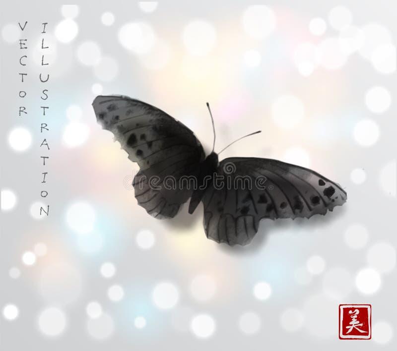 Stor svart fjärilshand som dras med färgpulver Traditionell orientalisk färgpulvermålningsumi-e, u-synd, gå-hua Minimalistic vekt royaltyfri illustrationer
