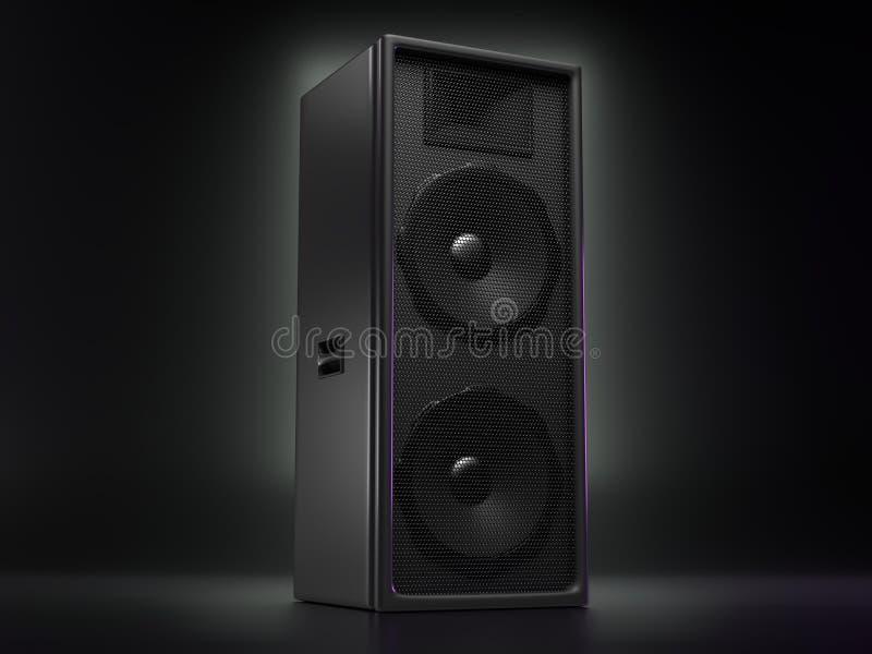 Stor svart högtalare på en reflekterande bakgrund royaltyfri illustrationer