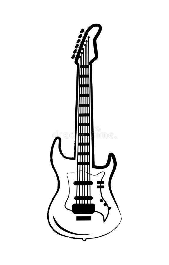 Stor symbol för gitarr på vektorillustration på vit vektor illustrationer