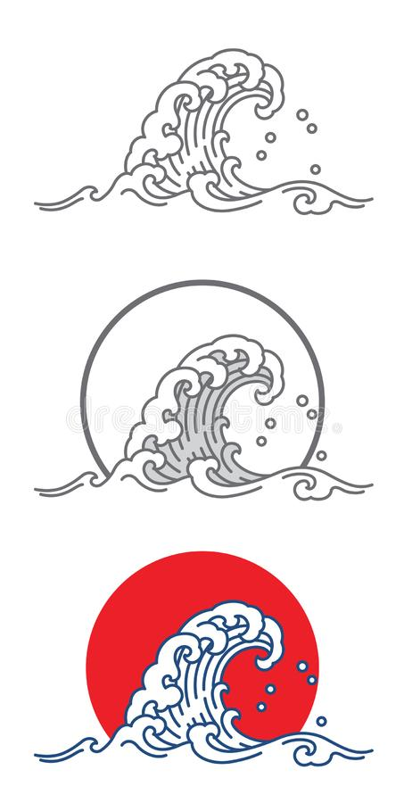 Stor symbol för våghavvektor i Japan konststil stock illustrationer