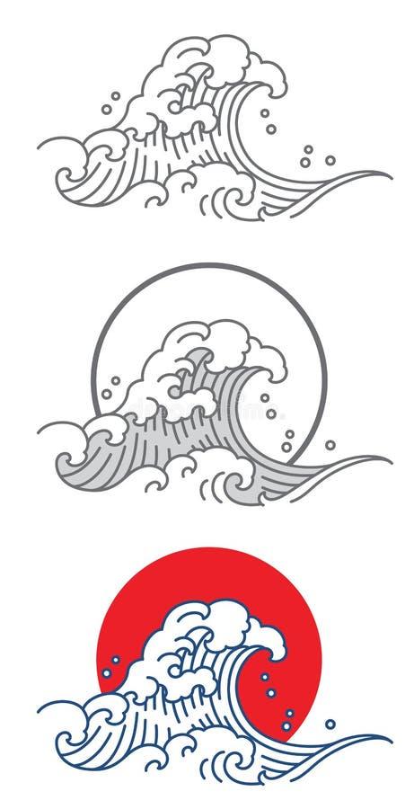 Stor symbol för våghavvektor i Japan konststil royaltyfri illustrationer
