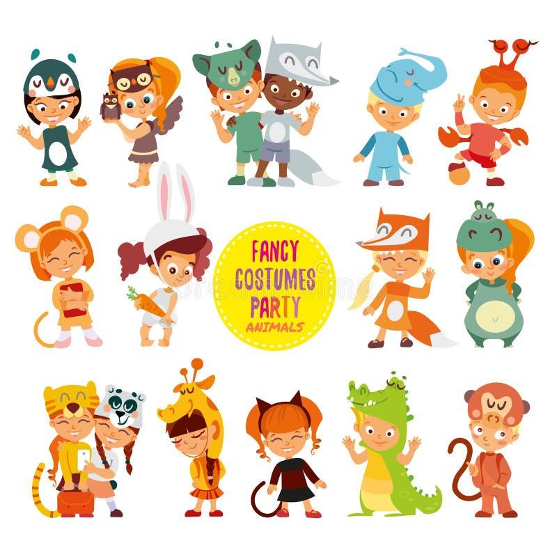 Stor symbolsuppsättning av gulliga pojkar och flickor i djurdräkter stock illustrationer