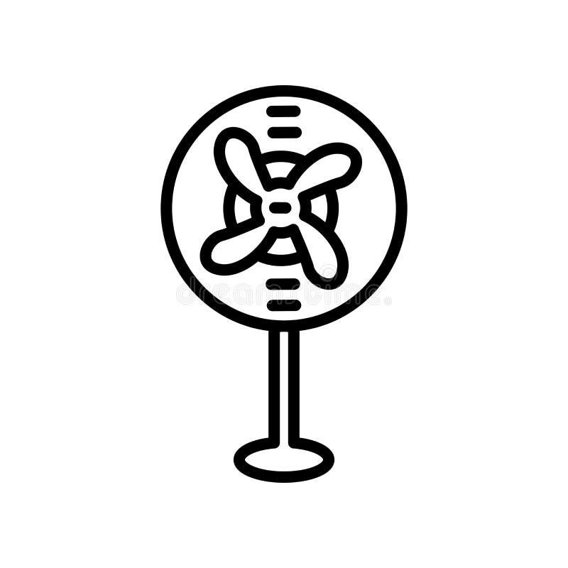 Stor symbolsvektor för elektrisk fan som isoleras på vit bakgrund, stort E stock illustrationer