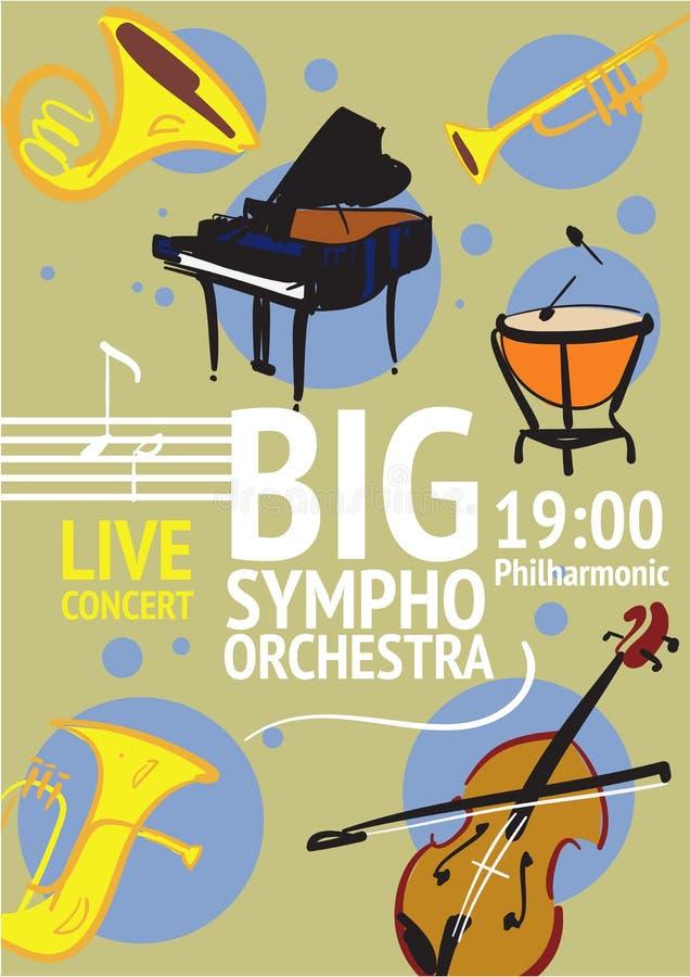 Stor Symphonic orkester Live Concert Poster vektor illustrationer