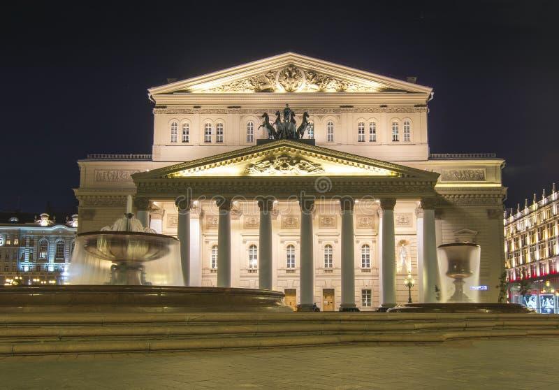 Stor teater för Bolshoi teater på natten, Moskva, Ryssland royaltyfri foto