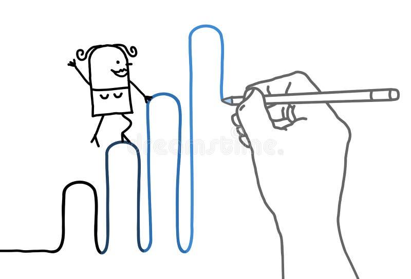 Stor teckningshand med tecknad filmkvinnan - gå upp stock illustrationer