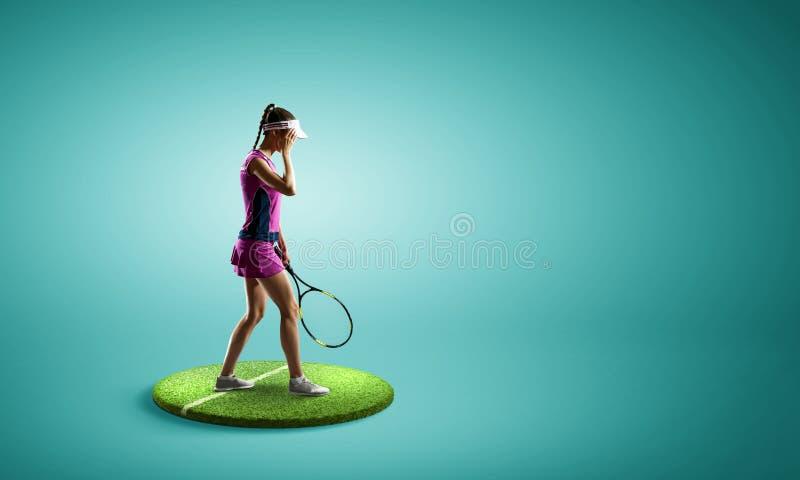 Stor tennisspelare Blandat massmedia arkivbild