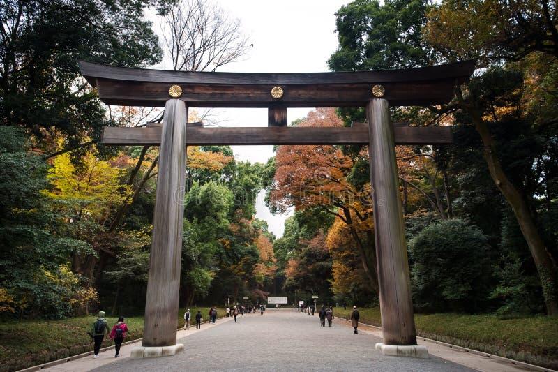 Stor torij-port vid ingången till Meiji Shrine, Shibuya, Tokyo, Japan arkivbild