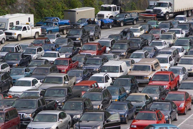 stor trafik för huvudvägdriftstopp royaltyfria foton