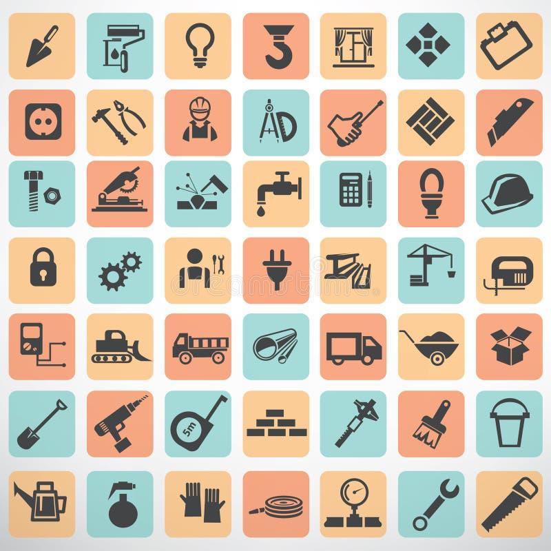 Stor uppsättning av arbetshjälpmedel och konstruktionssymboler stock illustrationer