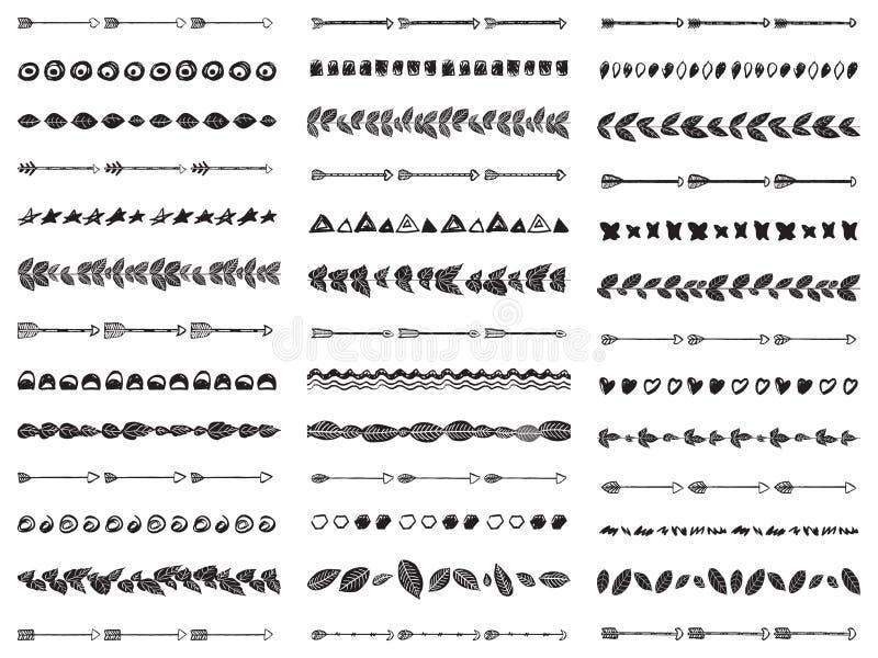 Stor uppsättning av Aztec bohostil för 39 abstrakta sömlösa borstar royaltyfri illustrationer