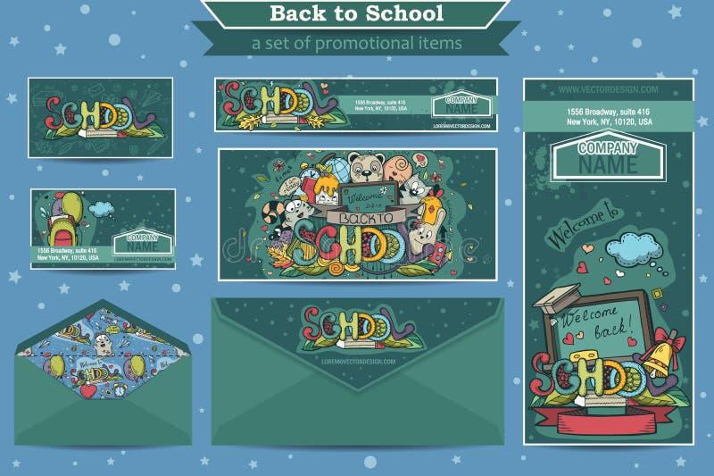 Stor uppsättning av befordrings- objekt på ett skolatema royaltyfri illustrationer