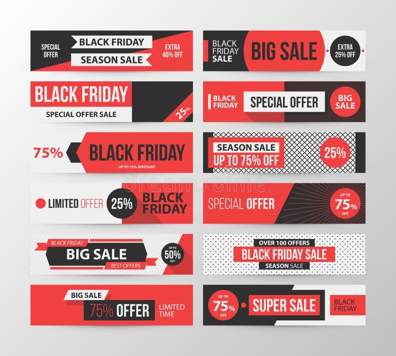 Stor uppsättning av Black Friday rengöringsdukbaner i retro svart och röd stil vektor illustrationer