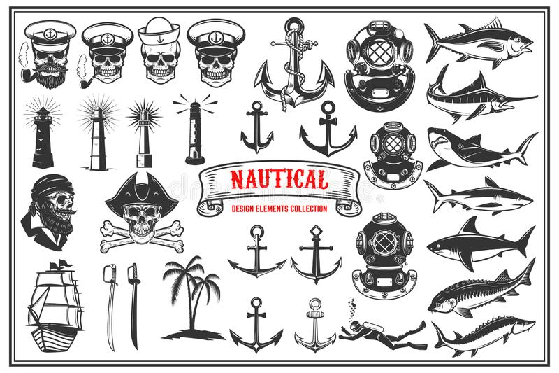 Stor uppsättning av designbeståndsdelar för nautiska emblem, havs- restaurang royaltyfri illustrationer