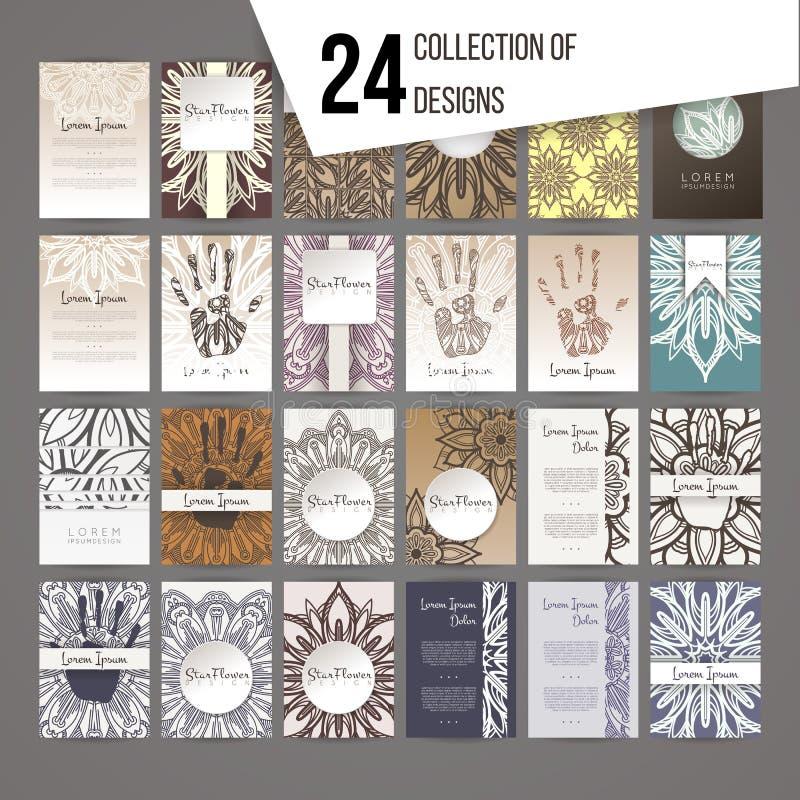 Stor uppsättning av designmallar Broschyrer i slumpmässig färgrik stil royaltyfri illustrationer