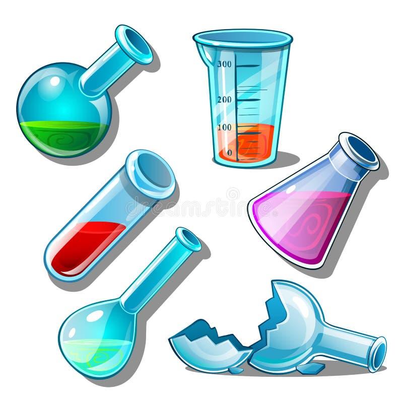 Stor uppsättning av flaskor med flytande och utan den stock illustrationer