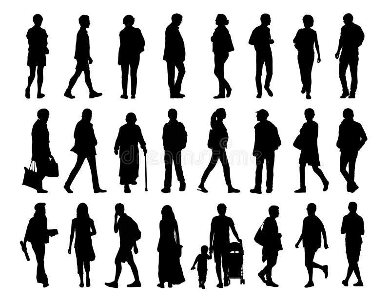 Stor uppsättning av folk som går konturuppsättning 2 royaltyfri illustrationer