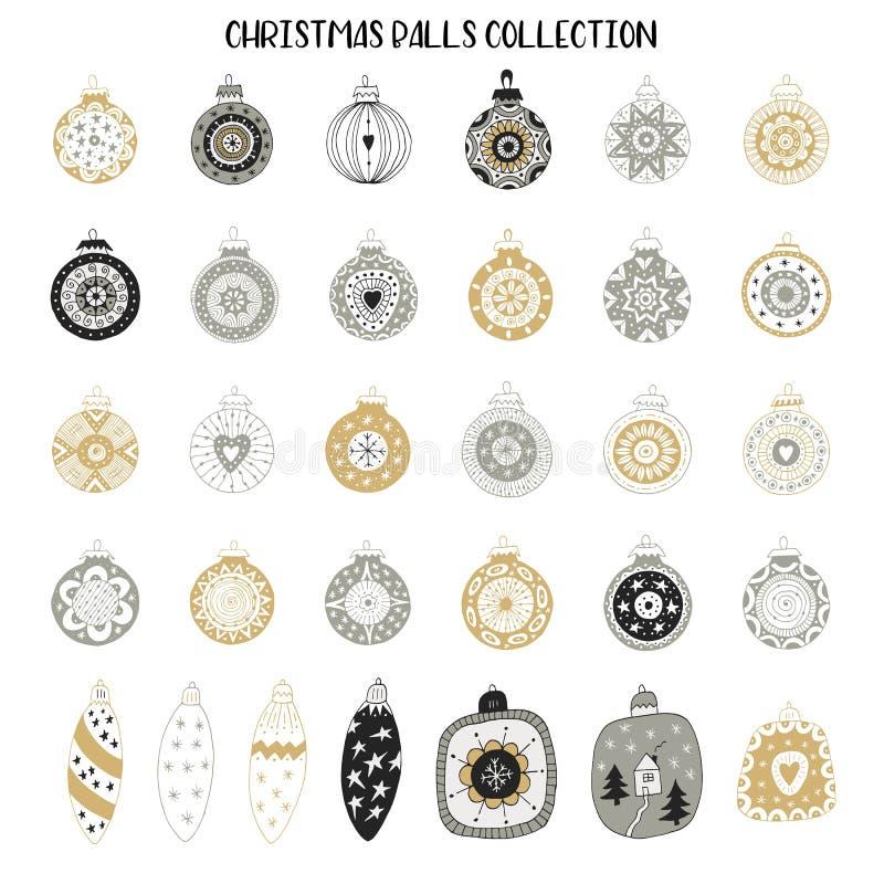 Stor uppsättning av garneringar för nytt år För julbollar för hand utdragen samling också vektor för coreldrawillustration stock illustrationer